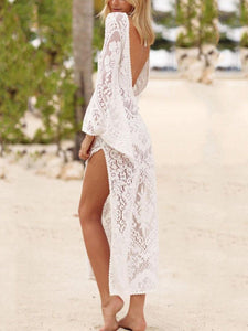 Spring And Summer New Sexy Lace Backless Beach Dress