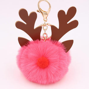 New Christmas Elk Keychain Bag Plush Pendant Accessories