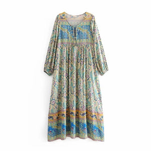 Spring New Boho Retro Positioning Print Holiday Dress