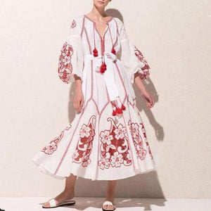 Floral Casual Lantern Long Sleeve Loose V-neck Maxi Dress