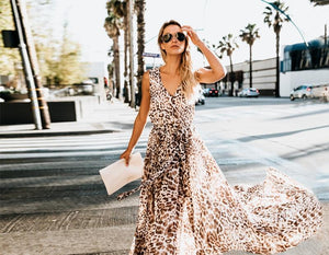Bohemian Leopard Print Sleeveless High Slit Large Swing Dress