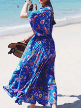 Load image into Gallery viewer, Printed Deep V Neck Tassel Bohemia Beach Maxi Dress