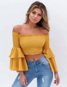 2018 new arrival sexy off-shoulder Petunia cuffs blouse