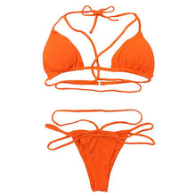 Load image into Gallery viewer, Strap knit button back bikini swimsuit with 14 colors