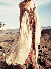 Load image into Gallery viewer, Bohemia Flower Inwrought Stripes V Neck Lace-Up Beach Long Dress