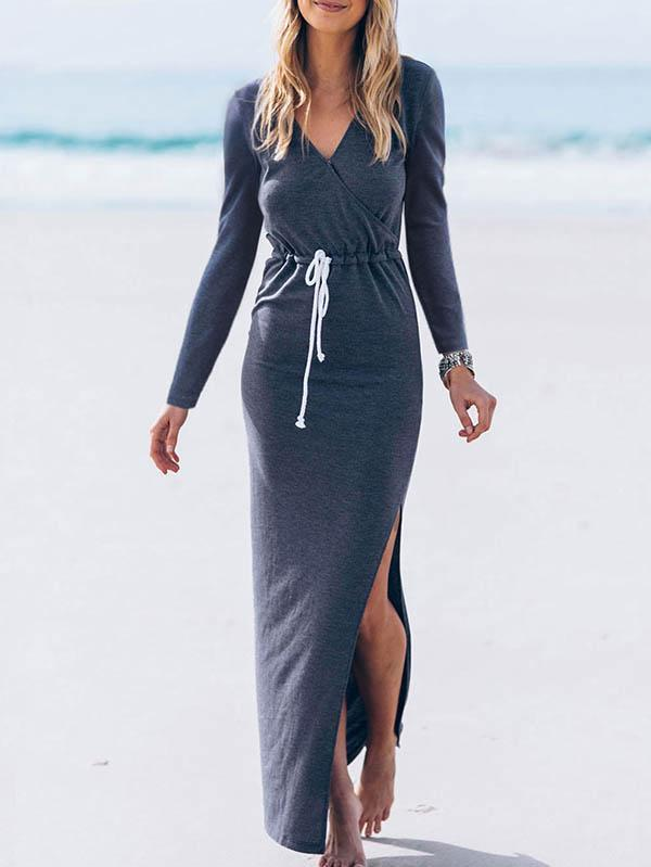 Simple V-neck Split-side Maxi Dress