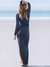 Load image into Gallery viewer, Simple V-neck Split-side Maxi Dress