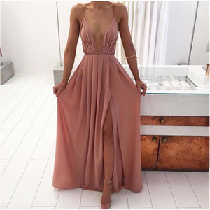 Beach fashion Sexy Backless Long Print Dress V-neck Dress 2018