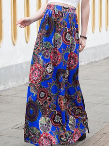 Attractive Bohemia Floral-Print Beach Long Skirt Bottoms