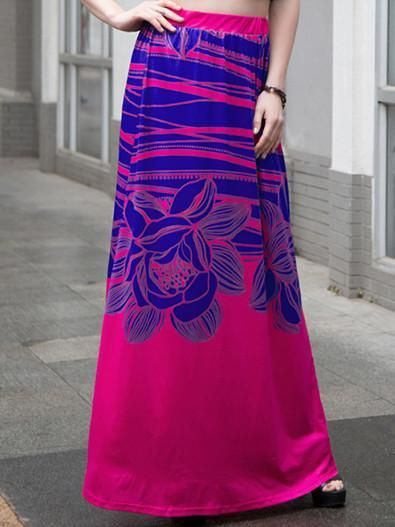 Beautiful Floral-Print Bohemia Beach Long Skirt Bottoms