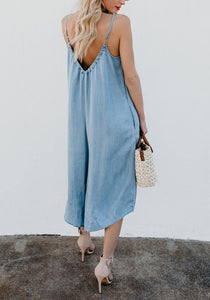 Casual Pockets Spaghetti Strap Backless V-neck Plus Size Blue Wide Leg Jumpsuit
