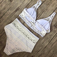 Load image into Gallery viewer, Women's Two Pieces Crochet Lace High Waist V Neck Bikini Set