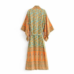 Bohemian Floral Print Women Long Sleeve Boho Cover-up