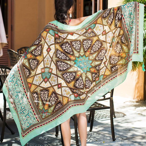 Green Rectangle National Style Vacation Printing Sunscreen Scarf Shawl Beach Towel