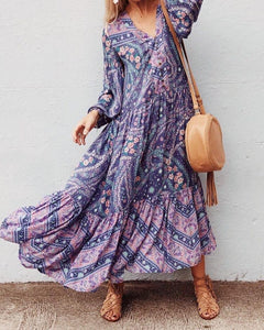 Bohemian Floral Long Sleeve V-neck Button Maxi Loose Dress