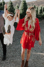 Load image into Gallery viewer, Boho Sexy Embroidered Deep V-neck Drawstring Long Sleeve Mini Dress