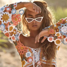 Load image into Gallery viewer, Beach Vacation Summer Sexy Bikini Blouse Hook Hollow Knit Tops Cover Up