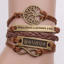 Load image into Gallery viewer, 4 Pcs/Set Charm Leather Bracelet Tree Of Life Brown Rope Bracelet Women Men Yoga Bangles Jewelry Accessories Christmas Gift