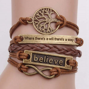 4 Pcs/Set Charm Leather Bracelet Tree Of Life Brown Rope Bracelet Women Men Yoga Bangles Jewelry Accessories Christmas Gift