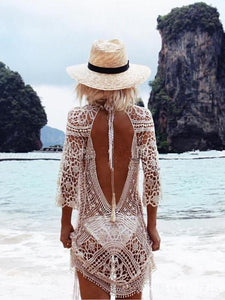 Hot Sale Long-sleeved lace blouse bikini sunscreen dress