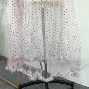 Polka Dot See-through Mesh Lantern Sleeve Large Long Bikini Cover-up