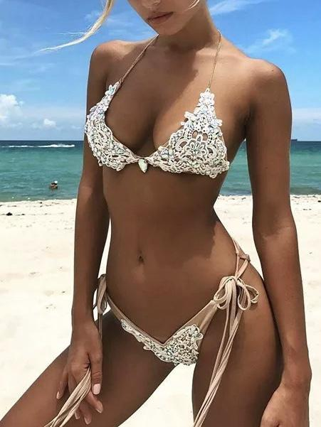 Sexy Lace Crystal Diamond Swimsuit