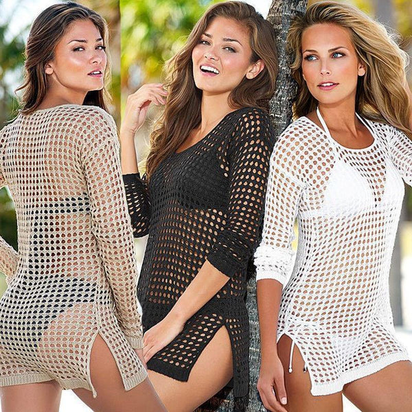 Sex woman push up knitting swimsuit hollow crochet bathing suit cover-up