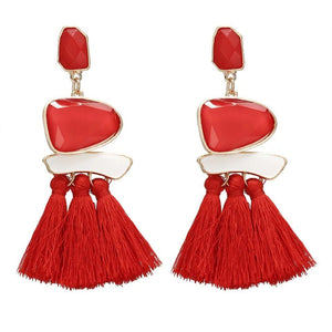 Trend Boho Vintage Statement Jewelry Ethnic Fringe Earrings Pendientes Mujer Moda Long Tassel Earring for Xmas party