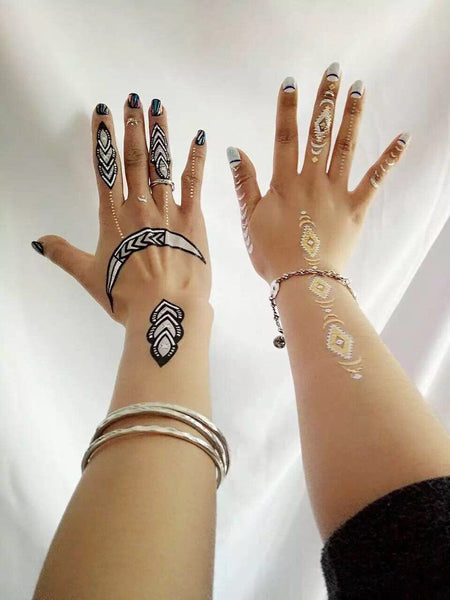 4 in 1 set Geometric waterproof metal body tattoo paper