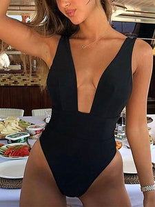 Sexy High Cut Deep V Neck Swimwear Solid One Piece  Solid Color Swimsuit High Waist Monokini Black Red