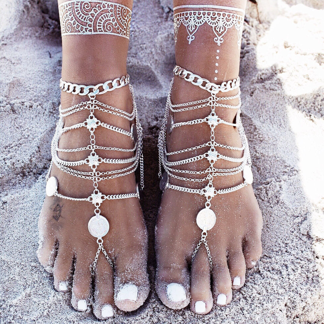 Bohemian punk retro wind metal multi-layer chain tassel coin anklet