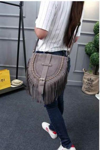 Women Tassel Messenger Bag Faux Suede Fringe Tassel Boho Hippie Gypsy Style Cross body Bag