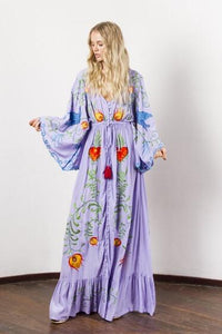 Summer New Arrival Flower embroidery V-neck large Morning glory sleeve dress Goddess dress
