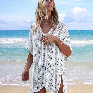 Bikini hollow beach blouse knitted sun protection clothing wholesale