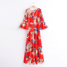 Load image into Gallery viewer, 2018 New Arrival V-neck flared sleeve print dress holiday Bohemia dress
