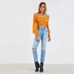 7 Colors Off-the-shoulder Fashion Umbilical Slim Long-sleeved T-shirt Solid Color Top