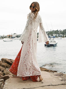 White Fashion Sexy Mesh Lace V Neck Beach Maxi Cover-up