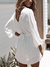 Load image into Gallery viewer, Deep V Chiffon White Loose Casual Sexy Fashion Long Sleeve Romper