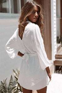 Deep V Chiffon White Loose Casual Sexy Fashion Long Sleeve Romper