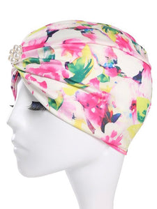 Trisass Floral Print & Solid Color Women Swim Cap