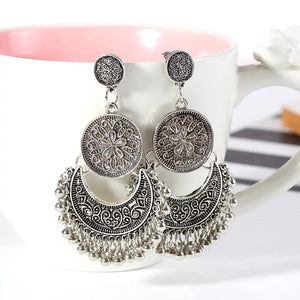 3 Colors Bohemian Indian Antique Moon Shape Carved Flower Tassels Earrings