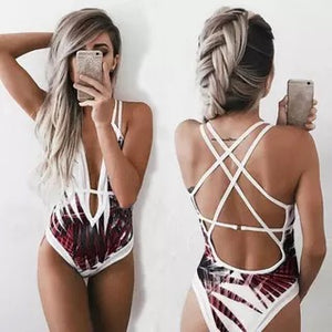Leaf Print One Piece Beach Swimsuit Swimwear Bathing Monokini Push Up Padded Bikini