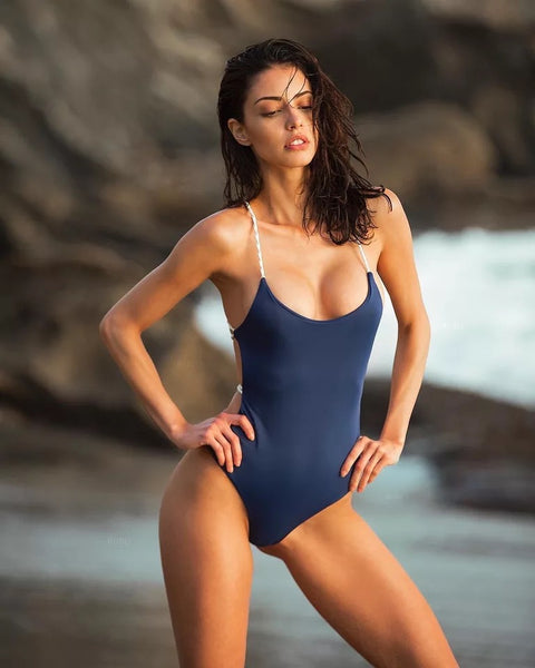 Solid Color one piece swimsuit Sexy Cross Halter Swimwear Bathing Suits Beach Wear Backless Swimsuit