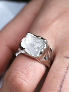 Creative Irregular Exaggerated Hip Hop Gothic Raw Natural Stone Ring