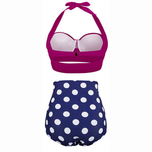 Polka Dot Sexy Women High Waist Bottom Bikini Swimwear Bikini Set