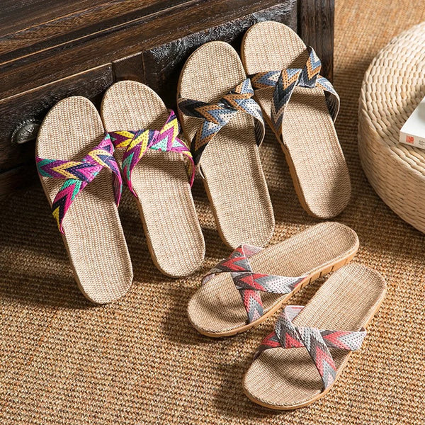 Summer 13 Colors Flax Home Slippers Women 35-40 Slapping Beach Flip Flops Non-slip Unisex Family Slippers