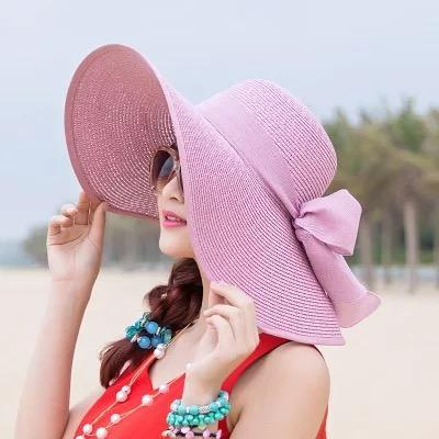 Large Brim Solid Color Floppy Hat Sun Hat Beach Women Hat Foldable Summer UV Protect Travel Casual Hat Female