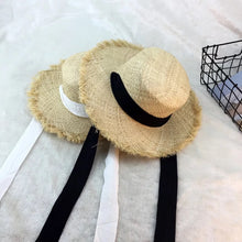 Load image into Gallery viewer, Handmade Weave Raffia Sun Hats For Women Summer Women Outdoors Sunshade Straw Hat Beach Hat Foldable Hat