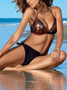 4 Colors Bling Top Solid Bottom Bikini Set Sexy Low Waist Bikini Set Swimwear