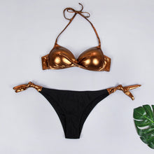 Load image into Gallery viewer, 4 Colors Bling Top Solid Bottom Bikini Set Sexy Low Waist Bikini Set Swimwear